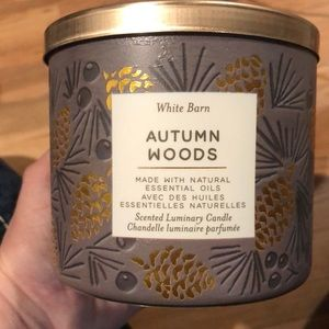 NWT Bath and Body Works Autumn Woods 3 Wick Candle